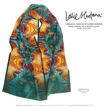 Load image into Gallery viewer, TERRESTRIAL in Teal, Gold, & Brick Red Silk Scarf - Leslie Montana