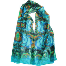 Load image into Gallery viewer, TURQUOISE TRAIL Chiffon Scarf in Turquoise & Brown - Leslie Montana