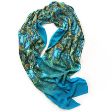 Load image into Gallery viewer, TURQUOISE TRAIL Lightweight Shawl, Turquoise, Green & Brown - Leslie Montana
