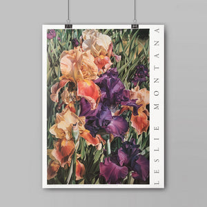 GIANT IRIS CLUSTER, POSTER Print of the Original Oil Painting - Leslie Montana