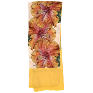 HIBISCUS YELLOW ORANGE | Lightweight Shawl | Watercolor Series - Leslie Montana