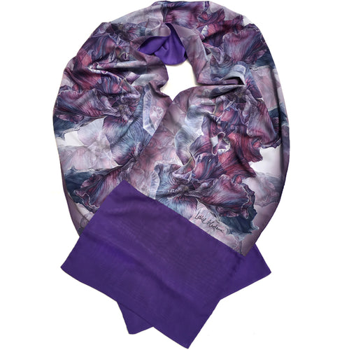 PURPLE IRIS | Lightweight Shawl | Watercolor Series - Leslie Montana