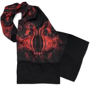 FLAMENCO Lightweight Shawl in Red and Black - Leslie Montana