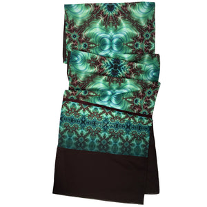 INNER LANDSCAPE Lightweight Shawl in Sea Greens & Brown - Leslie Montana