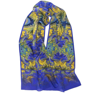 BAROQUE in Royal Blue, Yellow & Turquoise, Silk Scarf - Leslie Montana