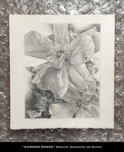 Trio of Roses, Graphite on Paper, Original Artwork - Leslie Montana
