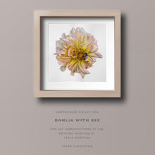 Load image into Gallery viewer, YELLOW DAHLIA WITH BEE, Giclee of the Original Watercolor Painting - Leslie Montana