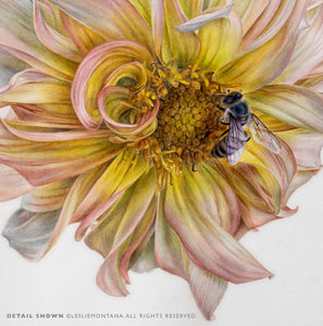 YELLOW DAHLIA WITH BEE, Giclee of the Original Watercolor Painting - Leslie Montana