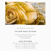 Load image into Gallery viewer, YELLOW ROSE IN RAIN, Giclee Print of the Original Watercolor Painting - Leslie Montana