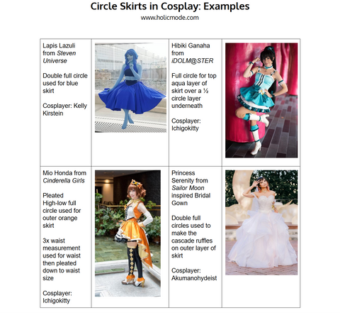 Circle Skirts and Cosplay References DIY projects