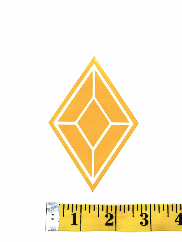 Yellow Diamond Glitter Decal Sticker Size