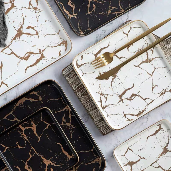 Square Marble Plate Collection
