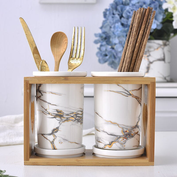 Wooden Holder Marble Texture Storage
