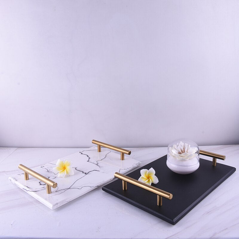Gold Holders Marble Tray