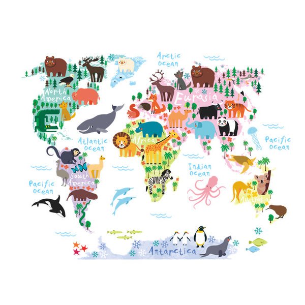 Cartoon Animals Map Wall Sticker