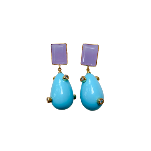 Party Drop Earrings - Turquoise