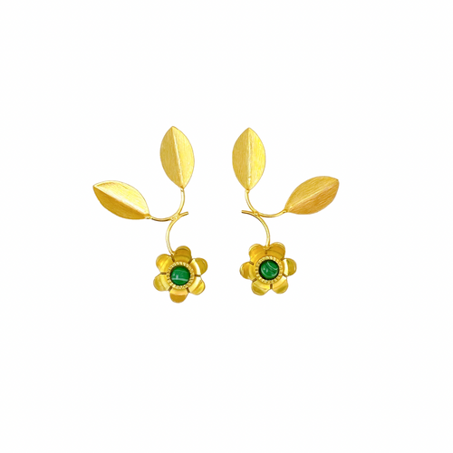 Malachite Fleur Earrings