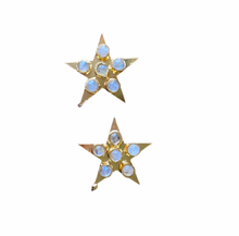 Load image into Gallery viewer, Moonstone Star Earrings