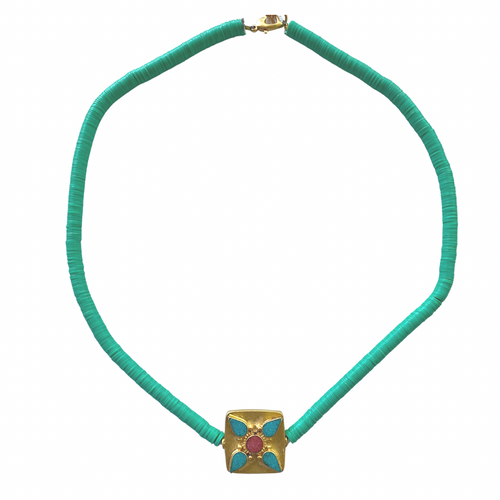 Turquoise & Gold Pool Necklace