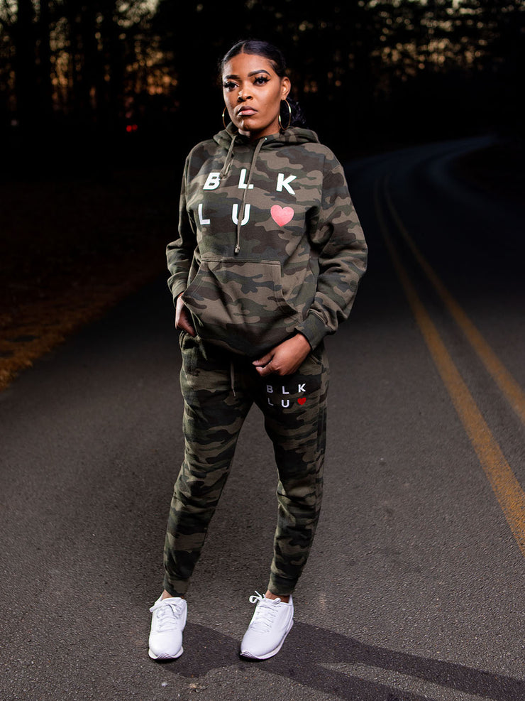 Blk Luv Heart Jogger Set (Camo)