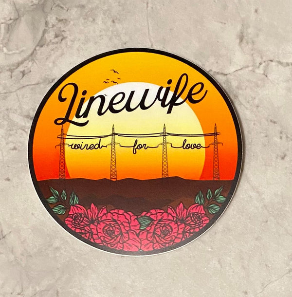 Linewife wired for love sticker transmission towers and roses