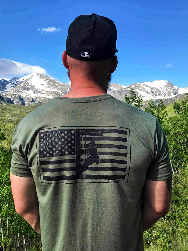 American Flag Performance Army Green Lineman T-Shirt - Linewife