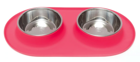 Double Silicone Feeder with Stainless Steel Bowls
