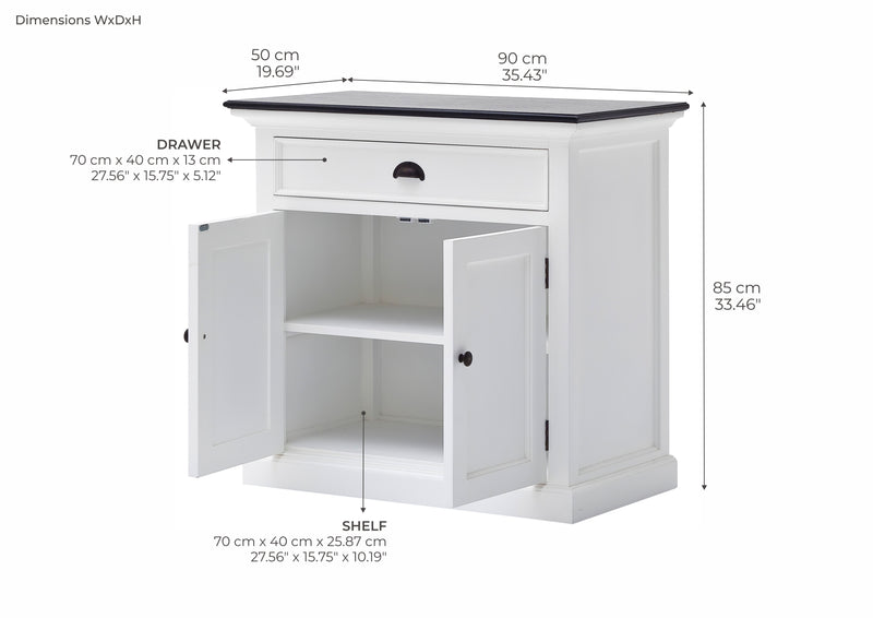 Halifax Contrast Small Buffet - White with Black Top