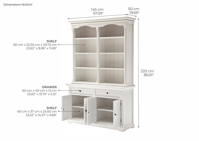 Provence Buffet and Open Hutch Cabinet - White