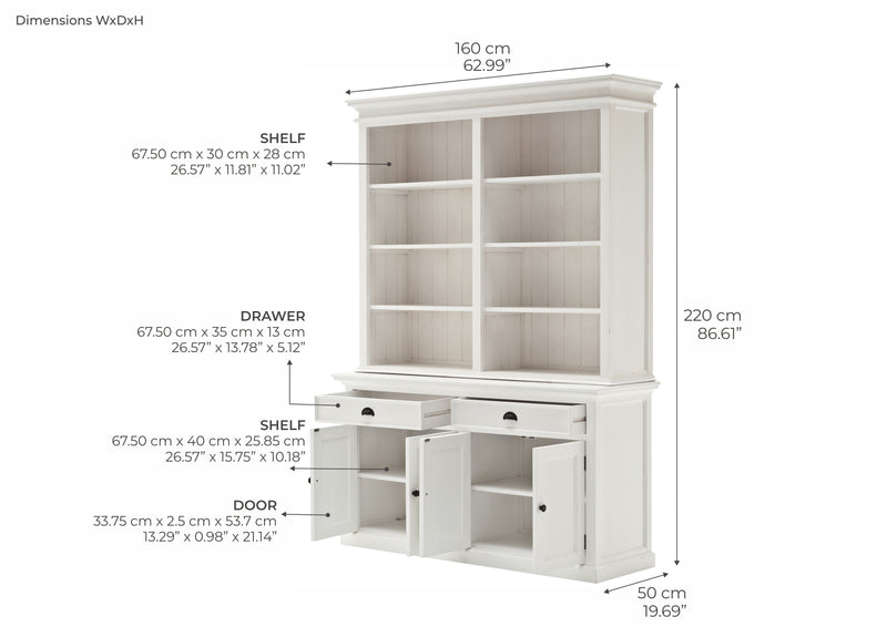 Halifax Buffet & Open Shelf Hutch - White
