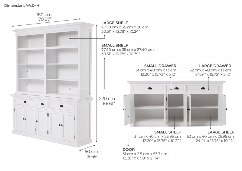 Hutch Bookcase 5 Doors, 3 Drawers