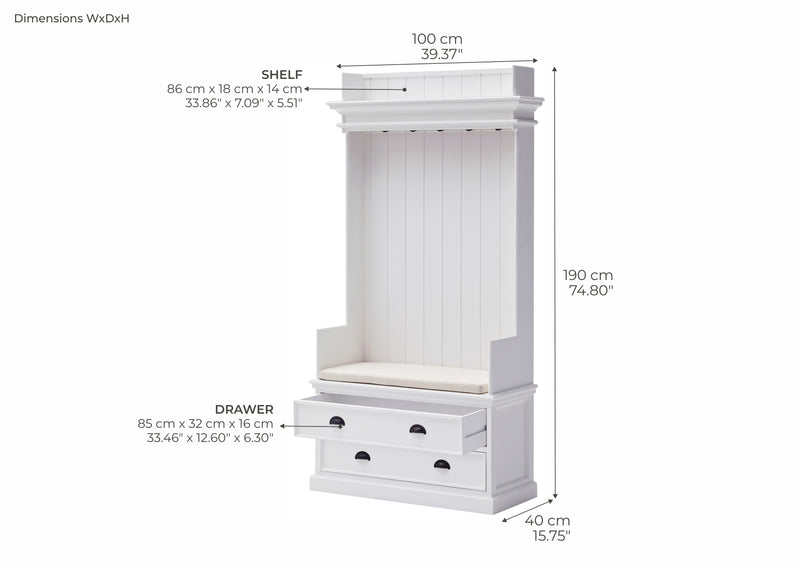 Halifax Coat Hanger Unit With Drawers - White