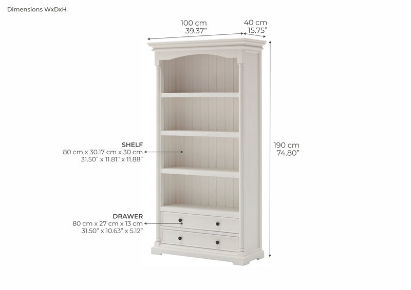 Provence Bookcase - White
