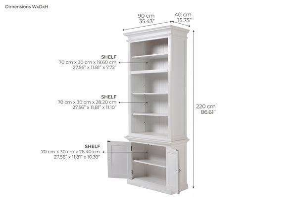 Halifax Slim Hutch Bookcase - White