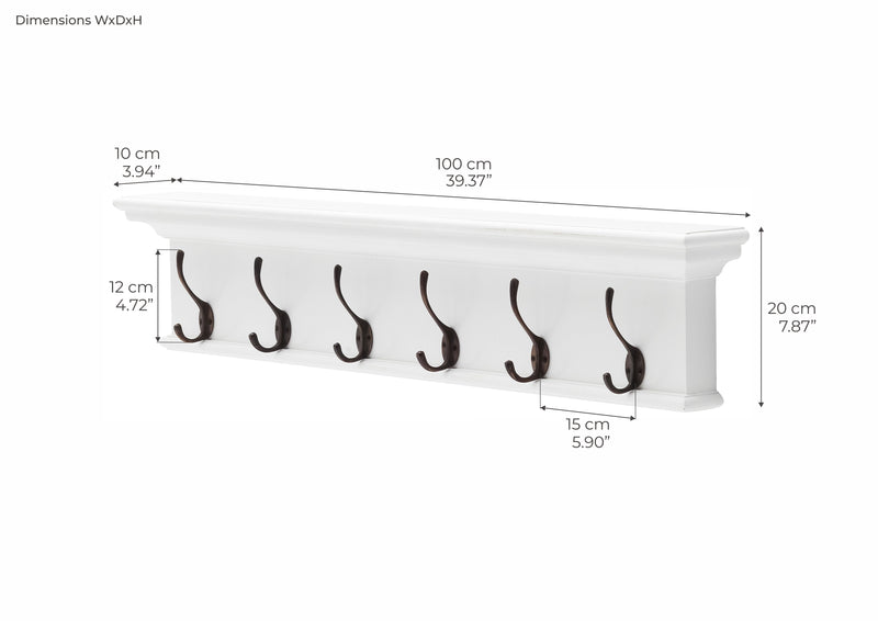 Halifax Coat Hanger Wall Unit 6 Hook - White
