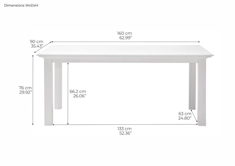 Halifax Dining Table 160cm - White