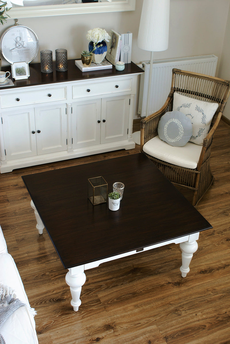Provence Square Coffee Table - White with Dark Brown Top
