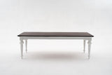 Provence Dining Table 240cm - White With Dark Brown Top