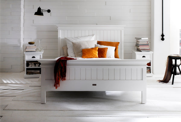 Halifax King Bed with Footboard - White