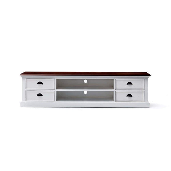 Halifax Accent Lowline ETU 180cm - White With Brown Top-TV Stand-Novasolo-I Wanna Go Home