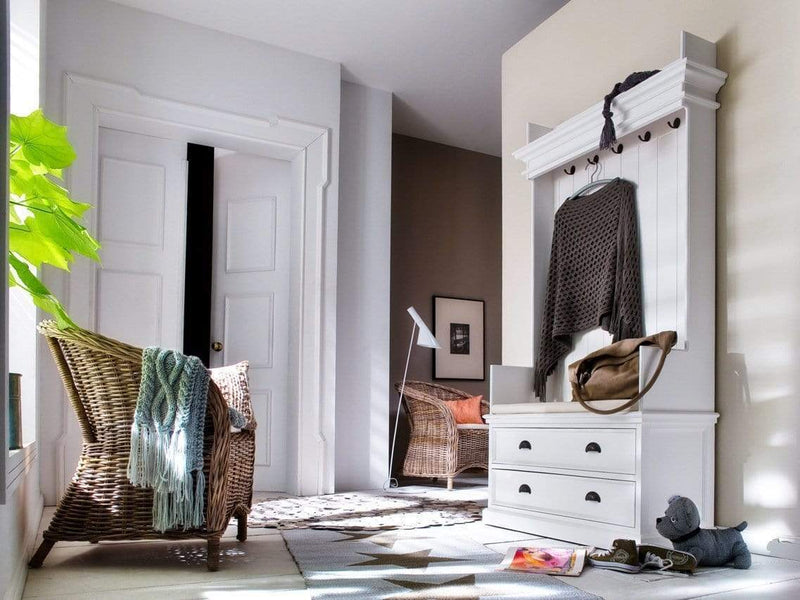Halifax Coat Hanger Unit With Drawers - White-Hall Tree-by NovaSolo-I Wanna Go Home
