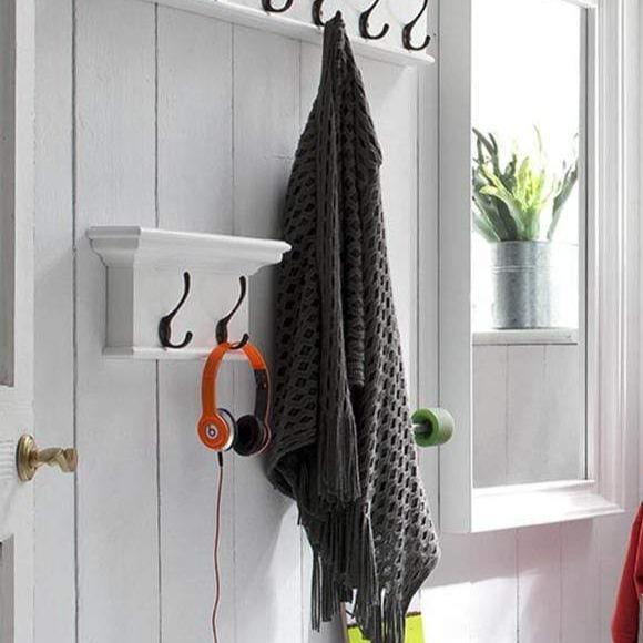 Halifax Coat Hanger Wall Unit 2 Hook - White-Coat Rack-by NovaSolo-I Wanna Go Home