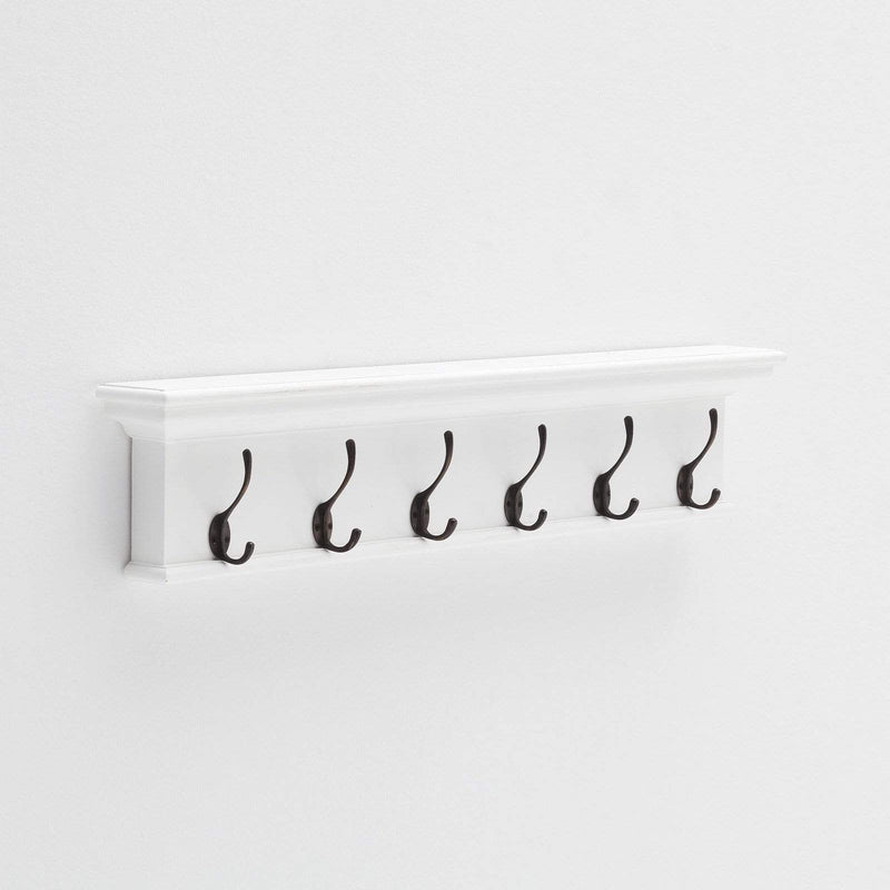 Halifax Coat Hanger Wall Unit 6 Hook - White-Coat Rack-by NovaSolo-I Wanna Go Home
