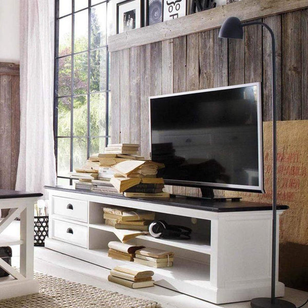 Halifax Contrast Lowline ETU 180cm - White With Black Top-TV Stand-by NovaSolo-I Wanna Go Home