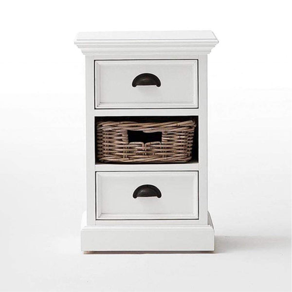 Halifax Storage Unit 1 Rattan Basket - White-Bedside Table-by NovaSolo-I Wanna Go Home