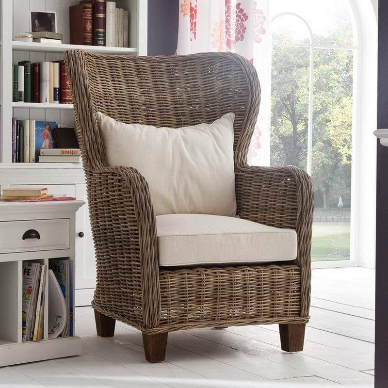 King Kubu Rattan Arm Chair With Cushion-Chair-Novasolo-I Wanna Go Home