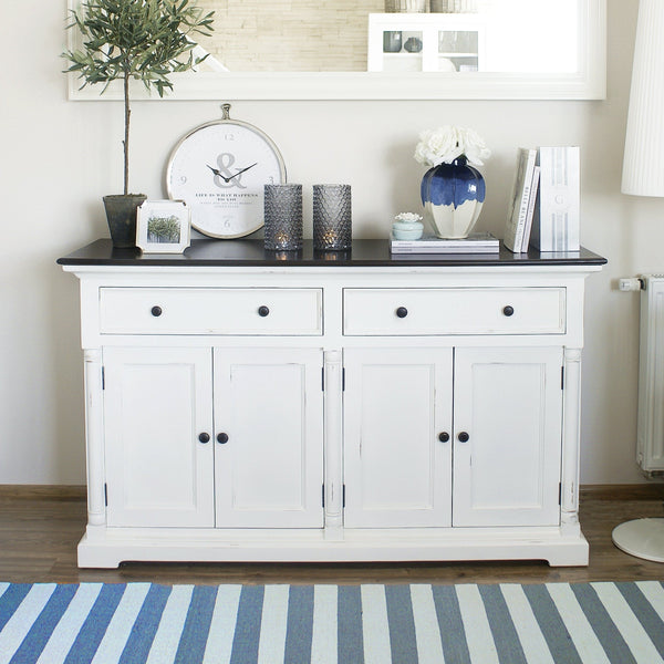 Provence Accent Buffet - White With Dark Brown Top-Buffet-Novasolo-I Wanna Go Home