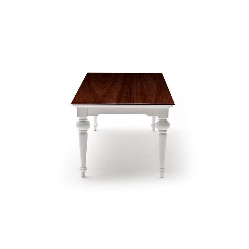 Provence Dining Table 240cm - White With Dark Brown Top-Dining Table-Novasolo-I Wanna Go Home