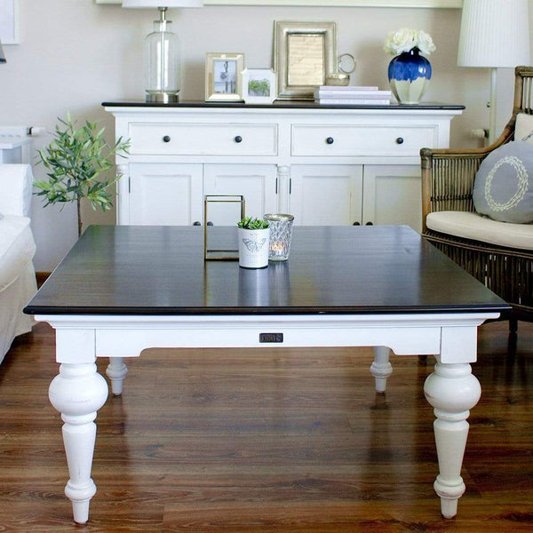 Provence Square Coffee Table - White with Dark Brown Top-Coffee Table-Novasolo-I Wanna Go Home