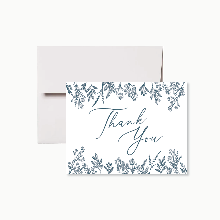 Drawn Blue Wildflowers Thank You Card